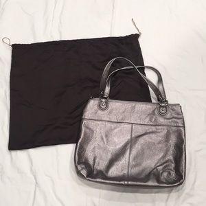 Coach Silver Metallic Shoulder Bag